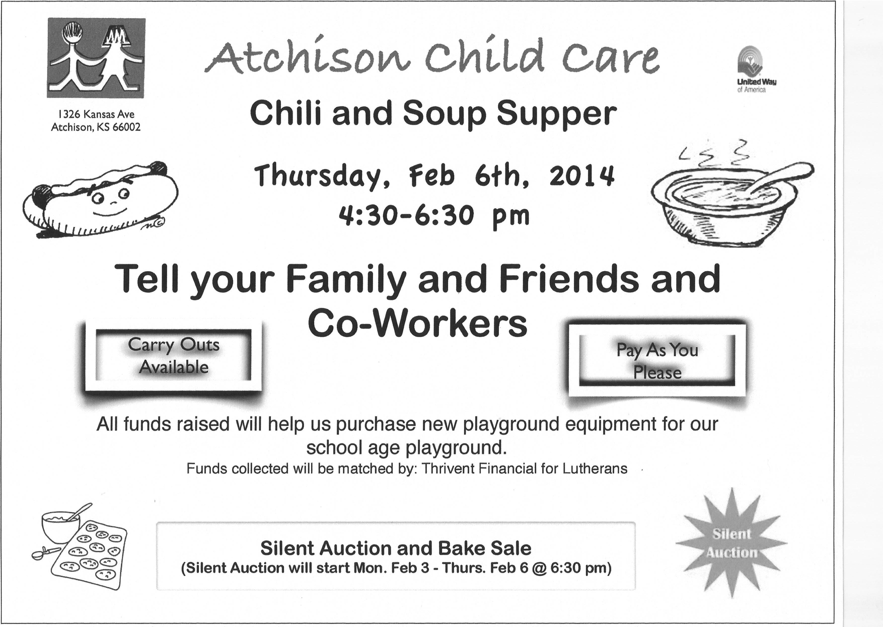 Atchison Child Care Chili Supper & Silent Auction